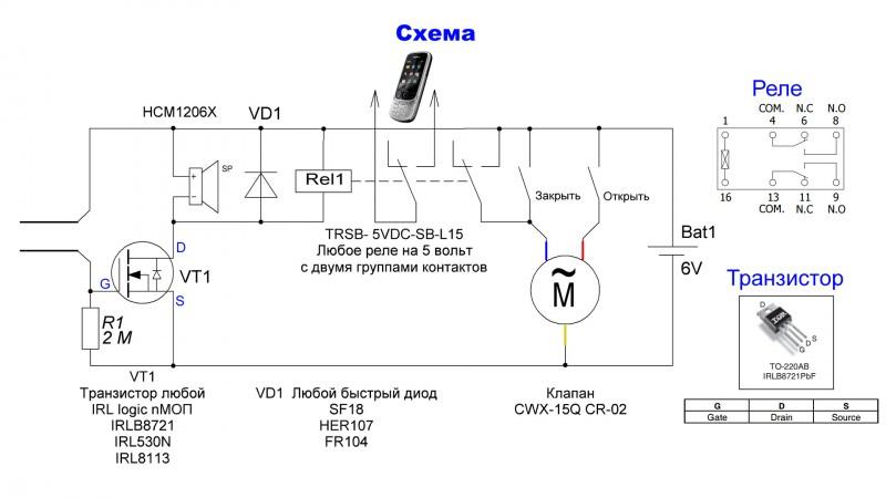 Схема датчик воды GSM