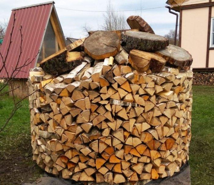 как укладывать дрова в поленницу
