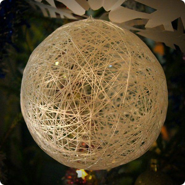 МК по мотанию шариков из ниток, елочные игрушки и светильники своими