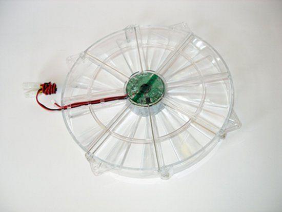 Вид обратной стороны вентилятора Globefan 220mm Blue LED