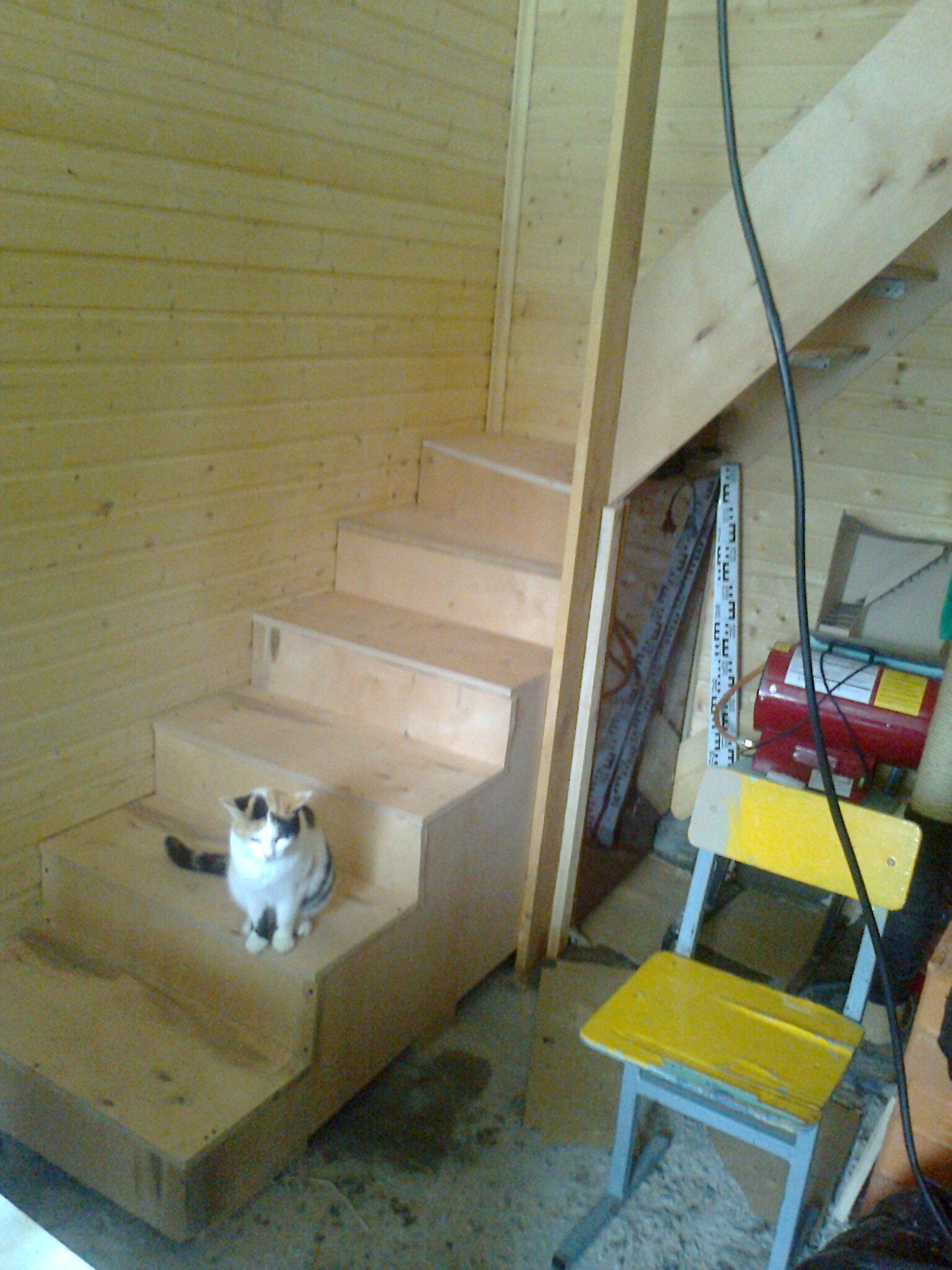Лестница на второй этаж в садовом домике