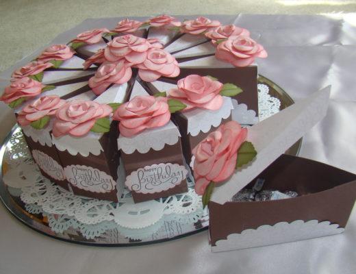 Кусочек торта из бумаги: шаблон с размерами