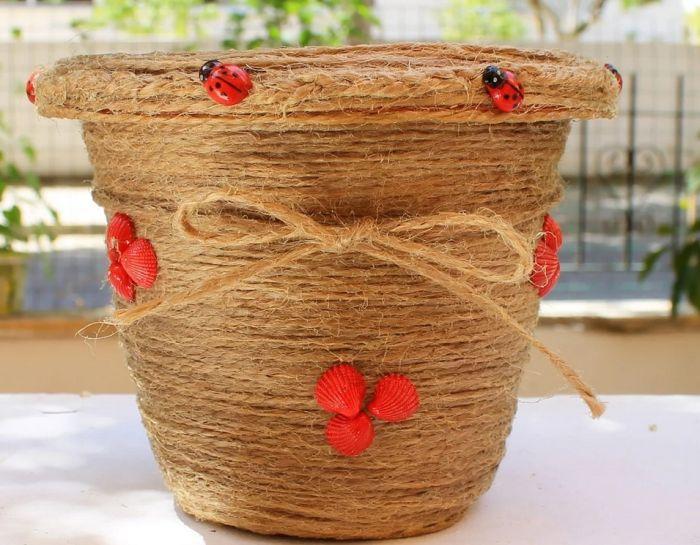 цветочные горшки своими руками из подручных материалов